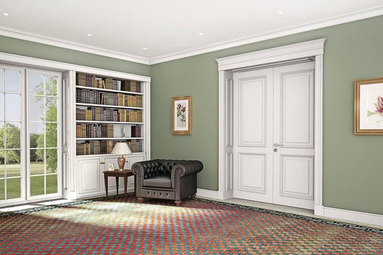 Stilltür mit Pilasteraufsatz und Bibliothek