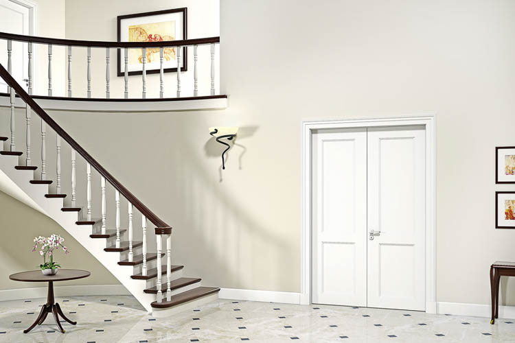 Zweiflügelige Stiltür und Treppe