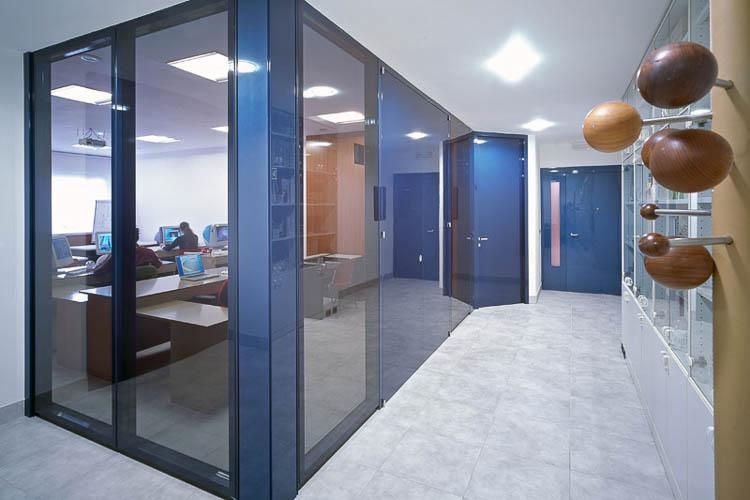 Glas-Raumteiler mit flächenbündigen Türen